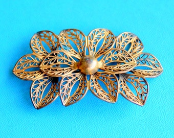 Antique Brooch Edwardian Gold Filigree Floral