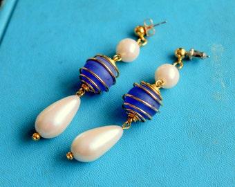 Vintage Earrings Dangle Style Blue Glass Pearl Pierced