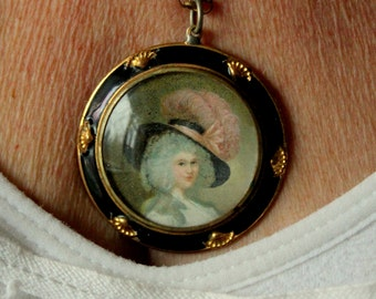 Vintage CORO Portrait Necklace Signed Gold Tone Painting Cameo Feather Hat
