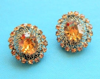 AUSTRIA Earrings Clip On Rhinestone Crystal Amber Signed Vintage 1940s