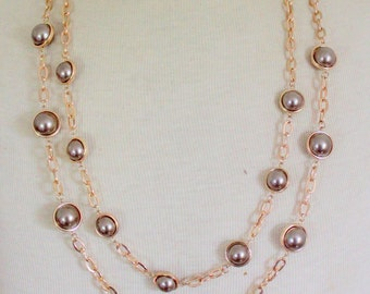 Vintage Statement Multi Strand Gold Tone Pearl Champagne