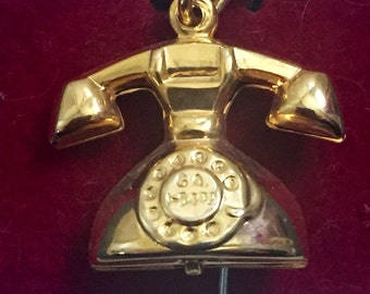 Vintage Telephone Charm for Bracelet  Gold Tone Rotary Phone