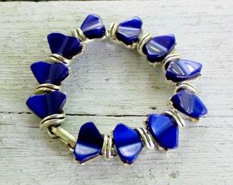 Blue Thermoset Bracelet 1950s Vintage Plastic