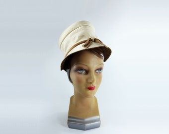 RESERVE 1960s Hat, Off White Ivory Hat, Satin Cloche Hat, Satin Velvet Cloche Hat