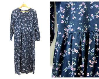 SALE vintage long floral Dress 90s Oversized Button Front Peasant Dress Navy Blue Boho Prep Dress