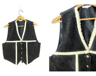 Black leather vest vintage Cowgirl 1980s western Sleeveless jacket Button Up Biker vest Hipster top women's size Large Dells