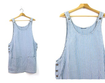 Vintage 90s Blue and White BIBS Jumper Dress Preppy Cotton Tank Mini Dress with POCKETS Open Bust Plaid Stripes Women's size XL Extra Large