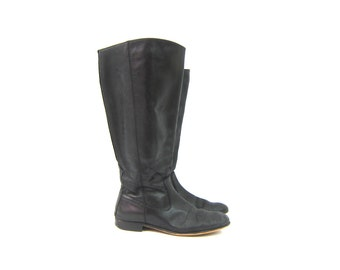 Tall Black Leather Boots 90s Kenneth Cole Fall Boots Vintage Equestrian Riding Boots Womens Preppy Boho Boots Size 8.5