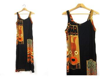Vintage Rayon BOHO Ethnic Long Slip Dress Tank Top dress Brown Black SunDress Earthtone Print Womens size Medium