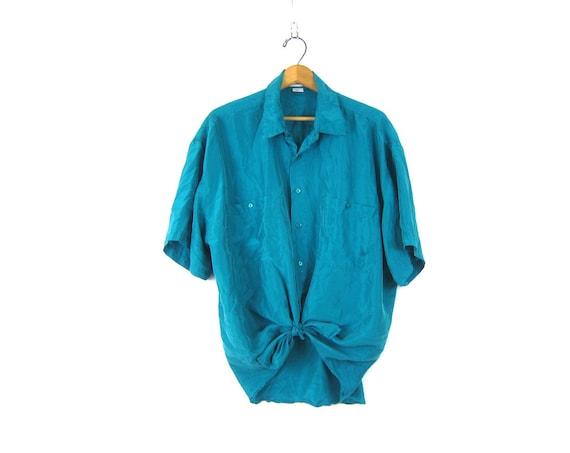 90s silk blouse slouchy turquoise green silk tshirt oversized blouse minimal short sleeve top unisex silk pocket tshirt vintage Men's large