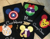 Family Disney Shirts, Super Heros  Mickey Shirt, Minnie Shirt, Personalized, Baby, Toddler, Youth, Adult Short Sleeve Shirts