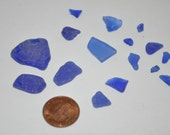 16 pc Cornflower Blue Beach Glass