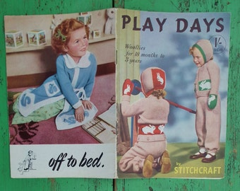 Play Days by Stitchcraft  SC 19 - vintage 1940s 1950s knitting patterns booklet book UK - children's clothing - original patterns 40s 50s