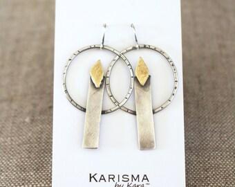 Candlestick Earrings, Sterling Silver, Brass