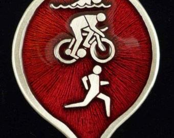70.3 Half Triathlon Christmas Ornament Made With Fine Lead Free Pewter