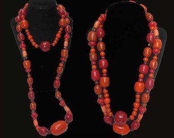 Big RED-Long Long Autumnal Bead Necklace,Brilliant Reds/Oranges/Coral/Brown,Wear Single or Double,Vintage Jewelry,Women