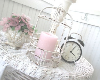 Vintage Shabby Bird Cage * Display * Chippy Cottage Paint * Garden * Candle Holder