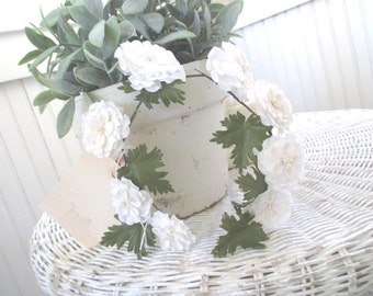 Vintage Millinery Flowers * Crown * Tiara * Shabby Chic * French White * Floral Swag