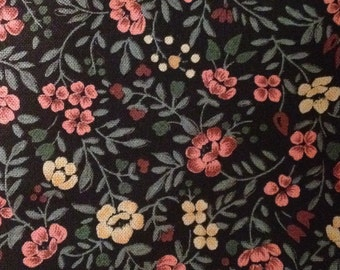 4 yards 42 wide 80s floral calico cotton dressmaking fabric