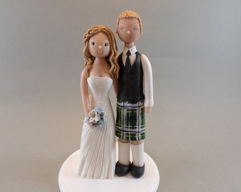 Cake Toppers - Bride & Groom Customized Scottish Wedding Cake Topper