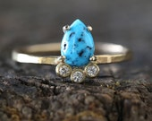 Turquoise + Diamond Arc Ring