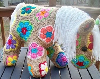 African Flower Pony Crochet Pattern : Items similar to Fatty Lumpkin Crocheted Pony on Etsy