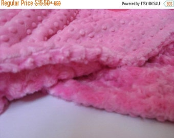 ON SALE Hot Pink Minky Dot Baby Blanket Toddler to Teen
