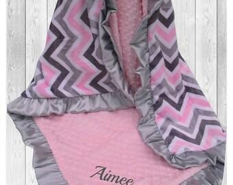 ON SALE Pink and Gray Chevron Minky Baby Blanket, Gray and Pink Chevron Minky Blanket, Personalized Satin Ruffle Minky Blanket,