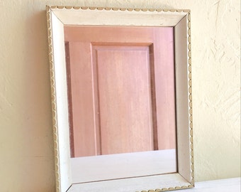 Vintage Gold and Creamy White Painted Wood Framed Mirror 6x8 inches
