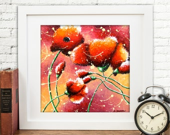 Red Poppies Wall Art Print, Red and Orange Living Room or Bedroom Decor Poppy Art, Red Flower Art Home Decor