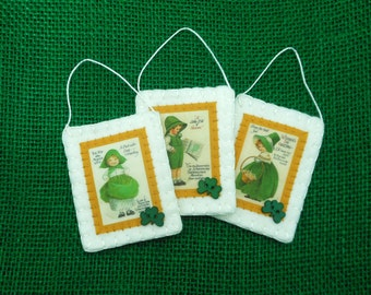 3 St. Patrick's Day Ornaments with Reproduction Vintage Postcard Images