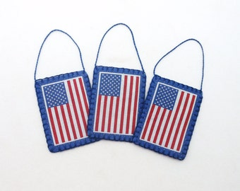 Penny Rug Style American Flag Image Ornaments - Set of 3