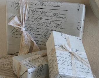 French Gift Wrap Napoleon Script European Paper