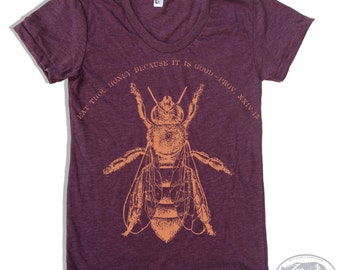 Womens HONEY Bee american apparel t shirt S M L XL (17 Color Options)