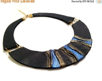 50% OFF SALE Stylish leather necklace. Leather jewelry. Elegant statement necklace.