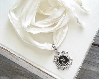 Typewriter Key Necklace. Letter N Necklace. Vintage Typewriter Key Jewelry. Long Boho Sari Silk Ribbon Necklace. Upcycled Eco Friendly Gift.