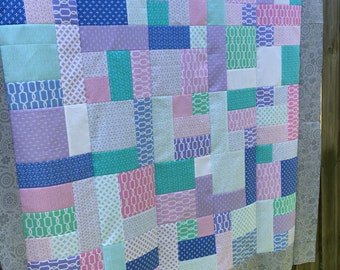 Unfinished quilt top - Michael Miller - Lap size 61 x 52 / gift for her / ready to sew / pink purple blue grey white teal / fleur de lis