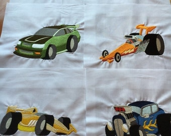6 Race Car Quilt Blocks - embroidered quilt blocks 10 inch squares / Vintage Cars / Racecar / ready to sew / sewist / gift for him / DIY