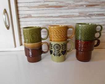 6 Mismatched Stacking Retro Mugs Brown Avacado Green Gold Japan 1960s 1970s