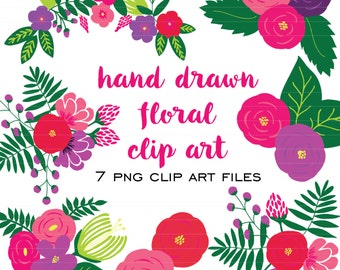 Hand Drawn Floral Clip Art (Instant Download)