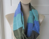 Multi-colored  scarf,  Upcycled, .Repurposed,  Infinity Scarf, Circle Scarf, Knit, Striped Sweatshirt Accessory,Blue Grey Scarf