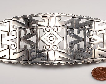 "Large Signed Emma (Melendez) Mexican Sterling Silver Belt Buckle:  2"" x 5 1/2"""