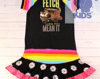 FETCH  a dress made out of authentic Secret life of pets tshirt cool funky recycled upcycled  pieced  size 7 (other sizes also available )