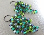 End Of Summer Sale Apatite, Tanzanite, Onyx and Peridot Sterling Silver Cluster Earrings - Waterfall