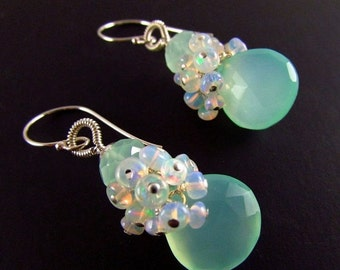 25% Off Summer Sale Aqua Chalcedony and Ethiopian Opal Sterling Silver Cluster Earrings