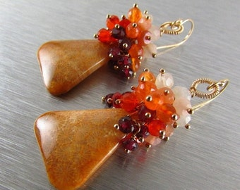25% Off Summer Sale Indonesian Fossil Coral, Rhodolite Garnet, Carnelian and Moonstone Gold Filled Cluster Earrings Earrings
