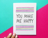 romantic christmas card you make me happy quote card birthday card anniversary card funny valentine card geometric pattern i love you card