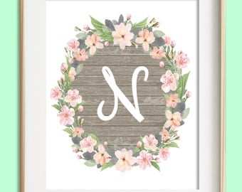 Letter N Printable, Instant Download, Baby Girl Nursery Wall Art, Girl Nursery Decor, Floral Monogram, Pink Mint Gray Letter Art, Baby Gift