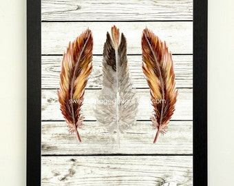 Feather Art Print, Modern Tribal Art, Feather Printable, 8x10 Instant Download, Modern Wall Decor, Black Brown Feather Art, Boho Decor