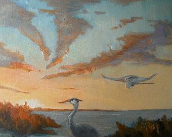 "Sunset Marsh Painting with birds, Original Florida Landscape, 9x12x.75"" Oil"